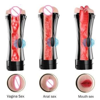 Male Masturbation Cup Mouth Vaginal Anal Silicone Masturbator Vagina Real Pussy Vibrator Sex Toys for Men Adult Oral Masturbador 1