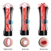 Nakładka do masturbacji dla mężczyzn usta pochwy Anal silikonowe Masturbator pochwy z prawdziwą pochwą wibrator zabawki erotyczne dla mężczyzn ustne dla dorosłych Masturbador