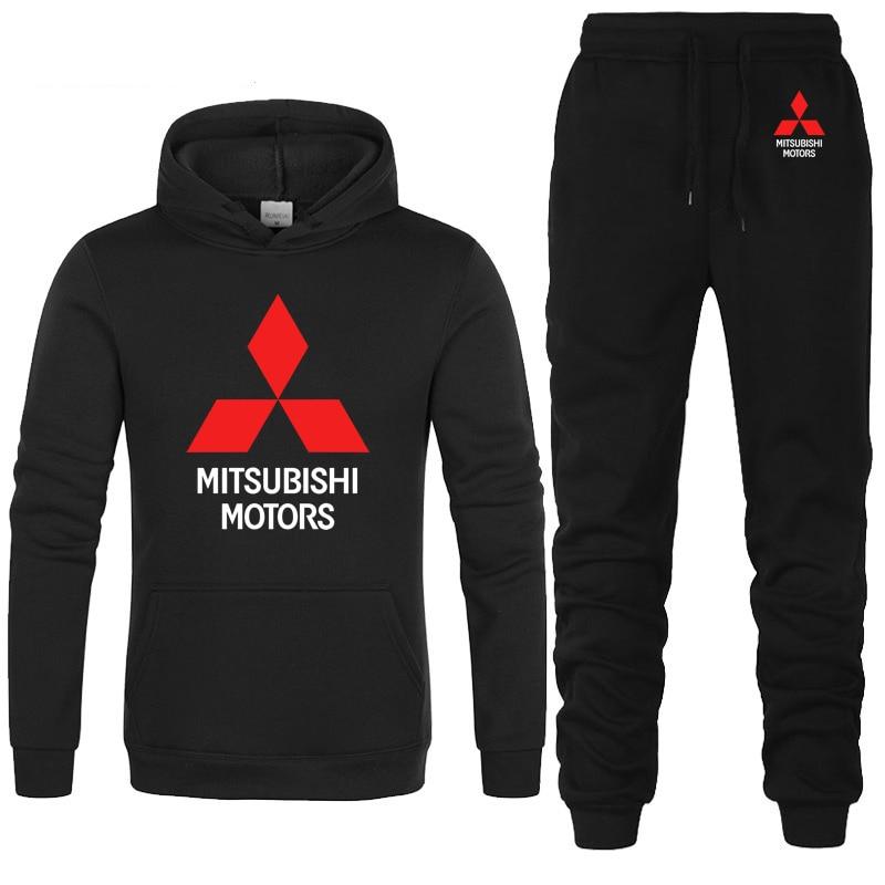 Hoodies Men Mitsubishi Car Logo Printed Unisex Sweatshirt Fashion Men Hoodie Hip Hop Harajuku Casual Fleece Hoodies Pants Suit