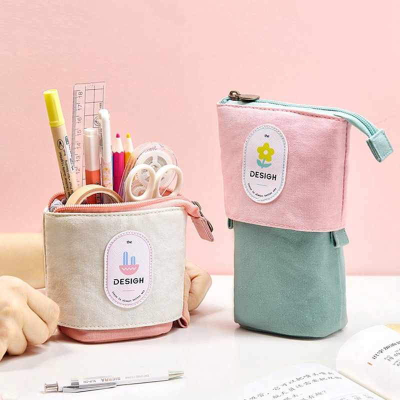 Fruit Vertical Pencil Case Big Capacity Canvas School Pencil Bag Storage Bag Pen Pouch Stationery Pull Down Stand Holder