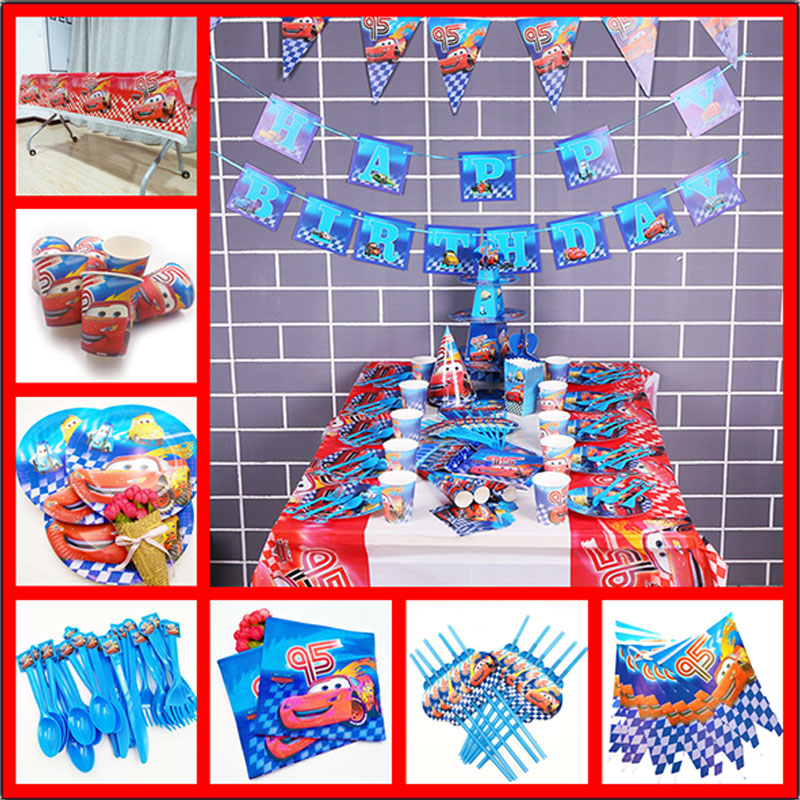 82pcs DISNEY Lightning Mcqueen Tablecloths Birthday Party Supplies Cartoon Disposable PE Plastic Set