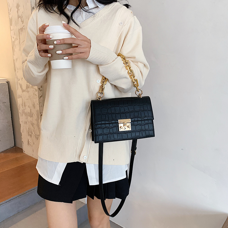 Thick Chain Small PU Leather Flap Bags for Women 2020 Branded Trend Women's Trending Designer Crossbody Shoulder Handbags