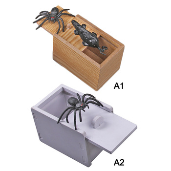 Hot Sale Spoof Toys Halloween Funny Novelty Hilarious Scary Box Spider Prank Wooden Scary Box Joke Toy for Children Dropshipping цена 2017