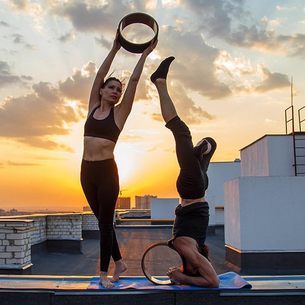 Roda de Madeira Natural Yoga Pilates com