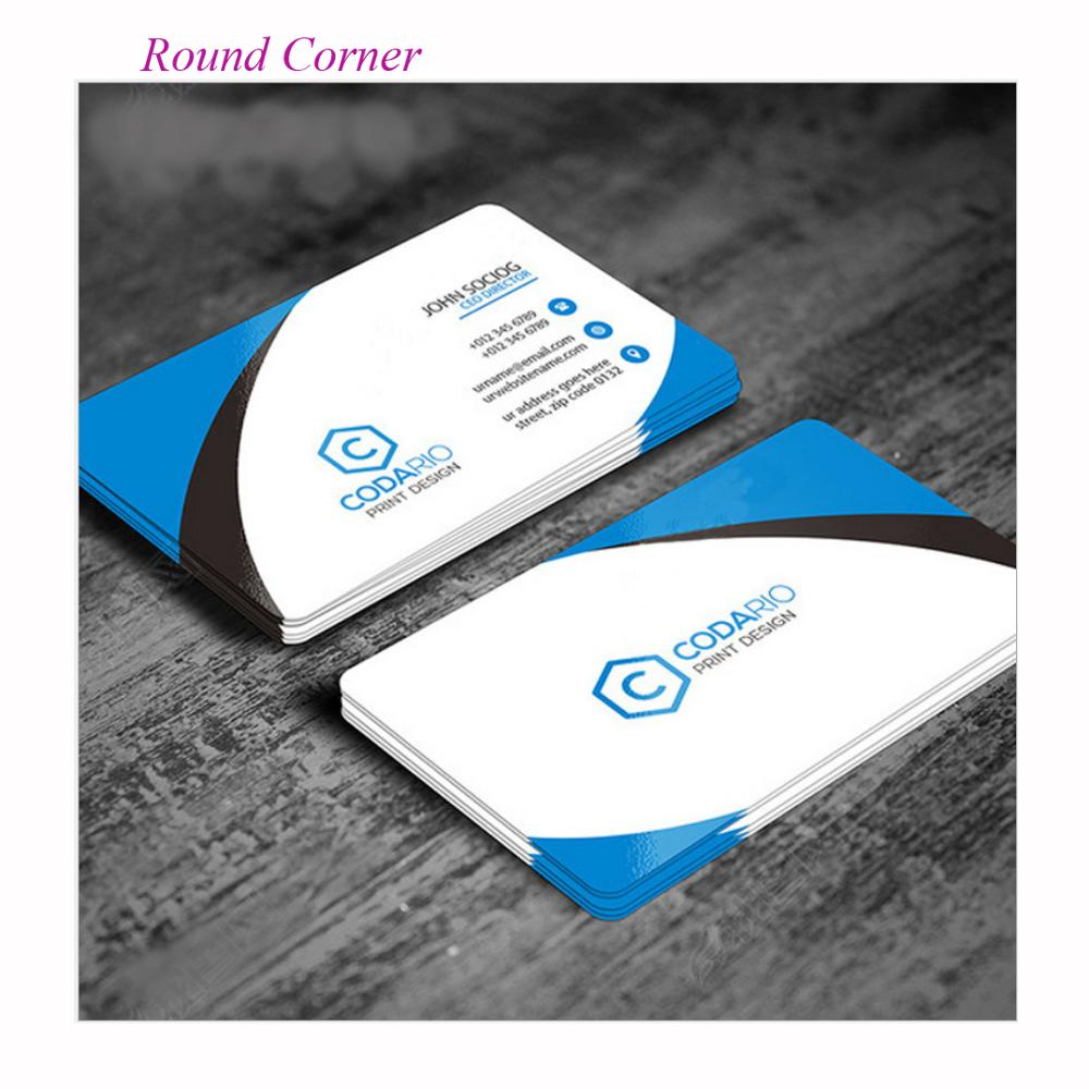 Free Design 200 Sheets Custom Round Corner Business Name Cards Logo Card Printing Paper Calling Card Vist Cards