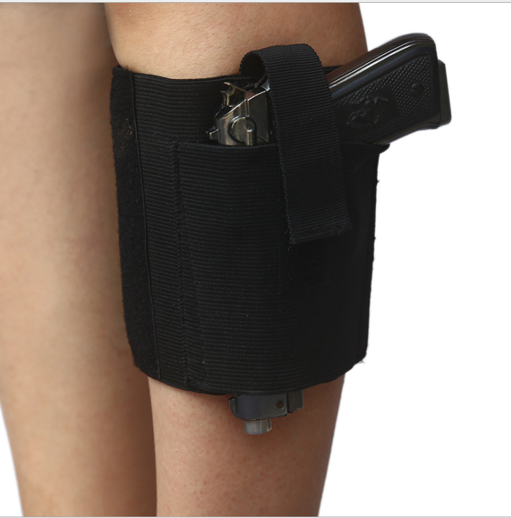 Tactical Concealed Carry Ankle Holster Leg Pistol Handgun Holster Elastic Secure Strap Fit Glock Medium Small Pistols image