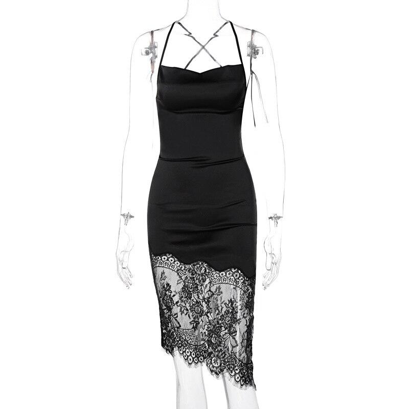 Robe Lace Bandage Backless Midi Dresses Women 2021 Satin Elegant Party Club Sexy Spaghetti Strap Dresses Women's Summer Dress 6