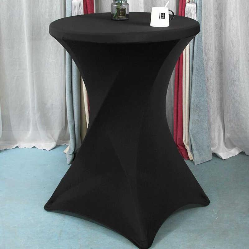 60/70/80cm średnica Stretch okrągły obrus stół koktajlowy pokrywa elastan stolik barowy tkaniny Hotel wesele tabela dekoracyjne nakładki