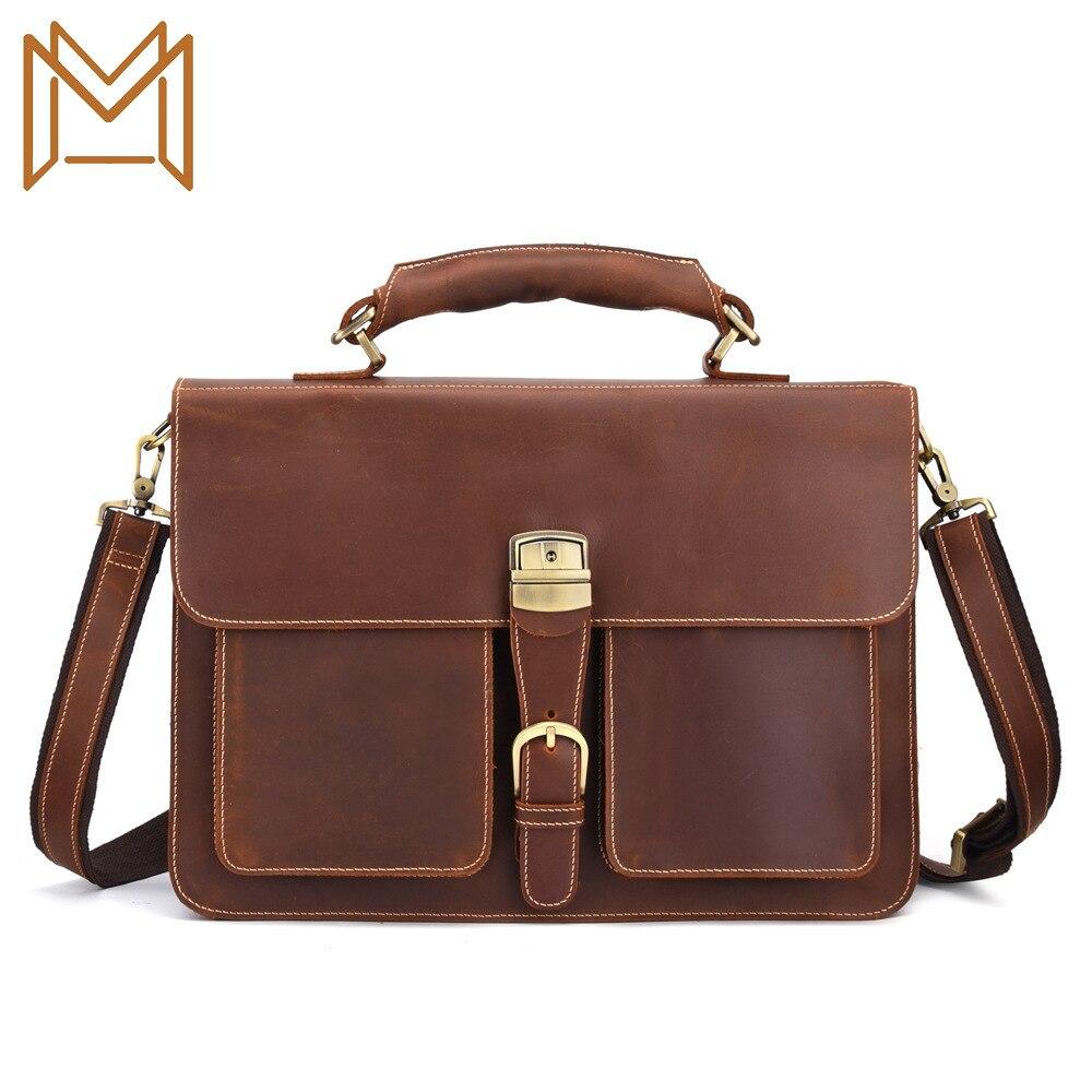 Man Single Shoulder Package Genuine Leather Business Affairs Computer Portable Briefcase Crazy Horse Leather Oblique Satchel