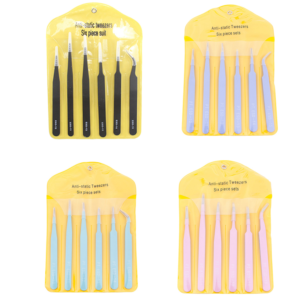 6/10Pcs Tweezers Tools Kit ESD Precision Antistatic Tip Curved Straight Stainless Steel Nipper Repair Tool for computer watch