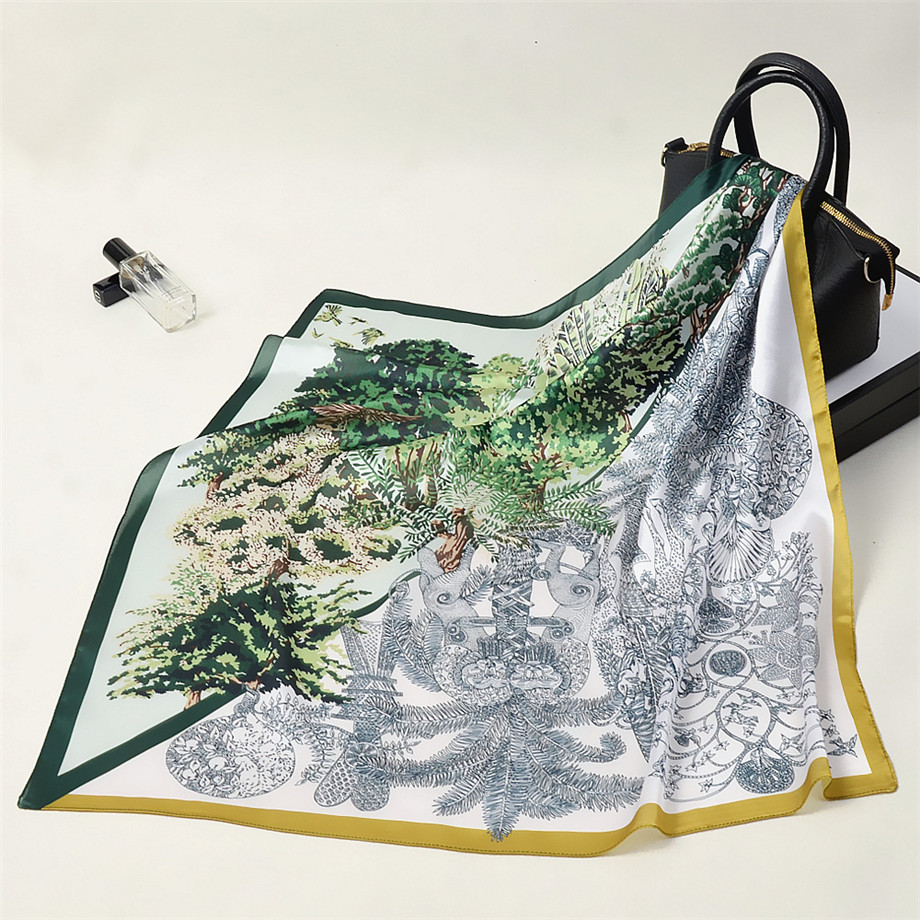 Jungle Animal Town Luxury Brand 53cm Square Scarf Women Kerchief  Neckerchief Turban 2020 Silk Scarf Summer Scarves For Ladies
