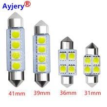 Ayjery 100 pces branco 12v dc c5w 5050 4 smd 31mm 36mm 39mm 41mm cúpula festão lâmpadas led bagageiro luzes lâmpadas telhado