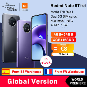 WORLD PREMIERE  Xiaomi Redmi Note 9T 5G 4GB 64GB /128GB smartphone Dimensity 800U Global Version NFC  5000mAh 48MP Camera