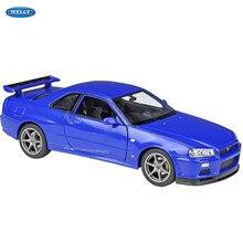 Welly 1:24 nissan skyline GT-R r34 simulação liga modelo de carro artesanato decoração coleção brinquedo ferramentas presente