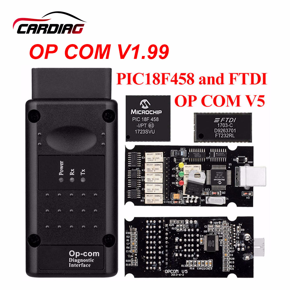 CAN Auto-Diagnostic-Tool Warehouse Op-Com OBD2 V1.7 V1.99 Opel PIC18F458 RU with FTDI