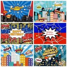 Laeacco день рождения фоны супергерой паук паутина комикс здания