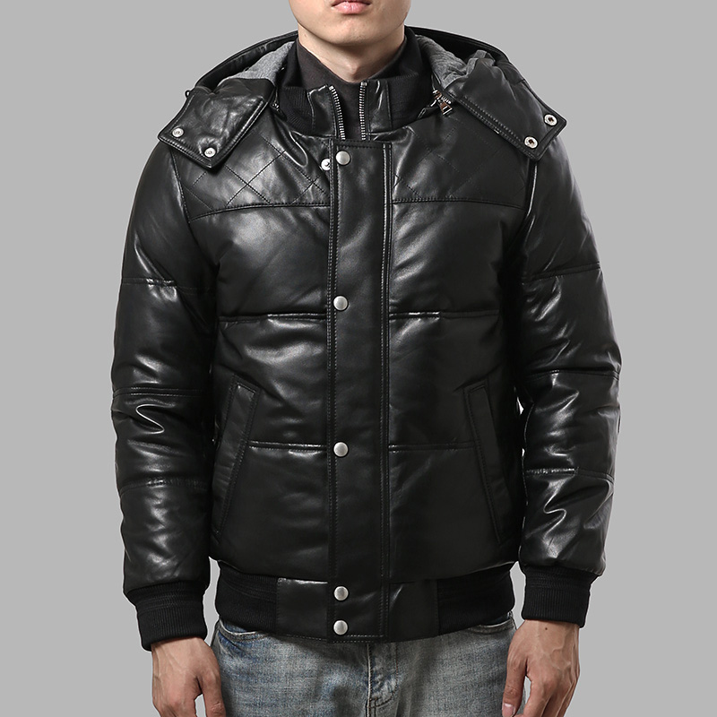 22055 lire la Description! Taille asiatique super chaud hommes véritable cuir de mouton doudoune chaud en peau de mouton hiver veste en cuir
