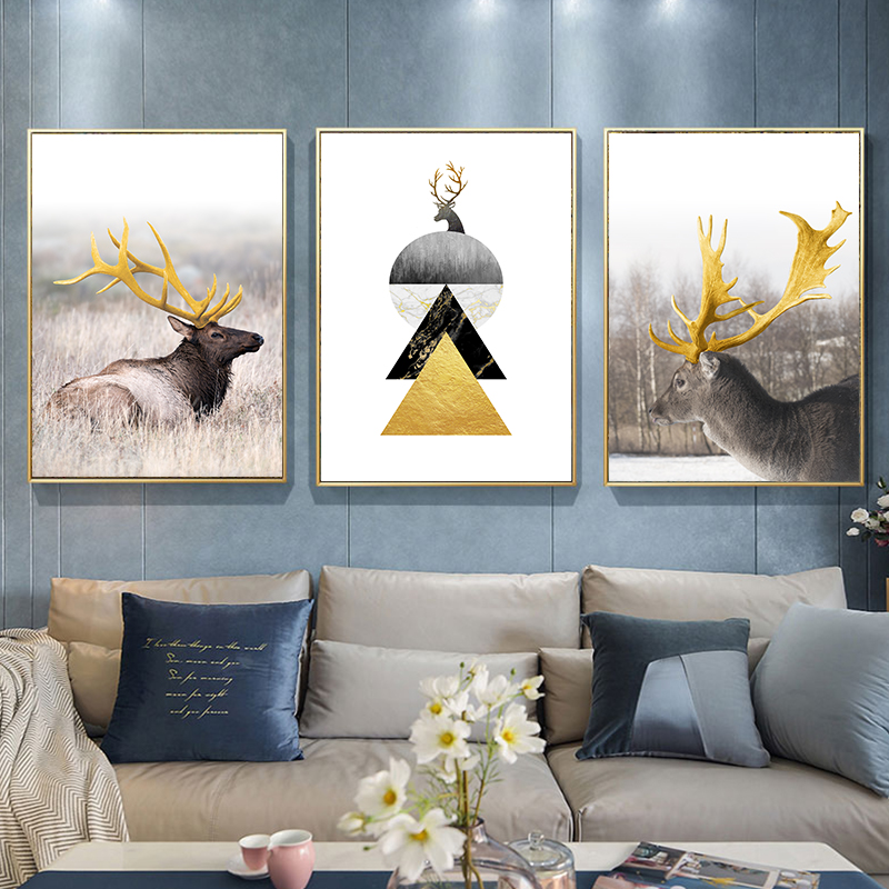 Modern Abstract Poster Geometric Pattern Antlers Stag Animal Wall Art Canvas Painting Nordic Picture Living Room Decoration