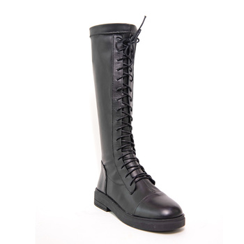 Leather Knee High Boots Women Autumn Winter Low Square Heel Ladies Stretch Shoes G260 Woman Cross Strap Black Round Toe Boots woman genuine leather platform square heel knee high boots round toe side zipper dress winter boots black
