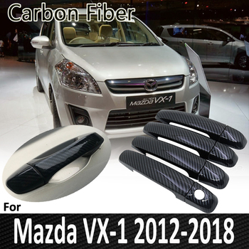 Black Carbon Fiber for Mazda VX-1 2012 2013 2014 2015 2016 2017 2018 Auto Door Handle Cover Sticker Decorations Car Accessories image