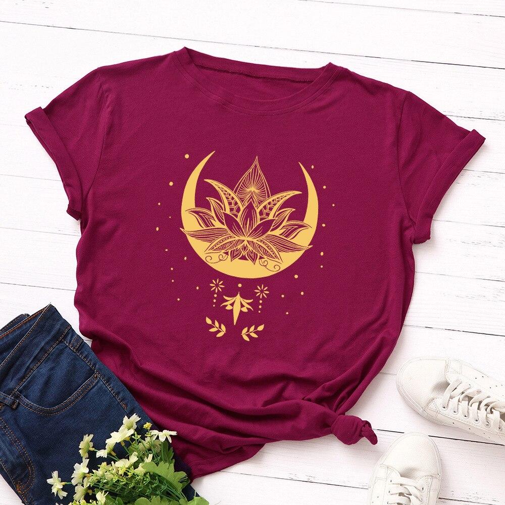 2021 New Lotus Women Tshirt Cotton Casual Funny T Shirt Girl Short SleeveT-shirt Femme Harajuku T Shirt Women Tops