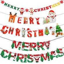 2021 Vrolijk kerstfeest Banner Papier Guirlande Kerstman Sneeuwpop Herten Kerstboom Vlaggenlijn Hangende vlaggen Nieuwjaar featival decoratie