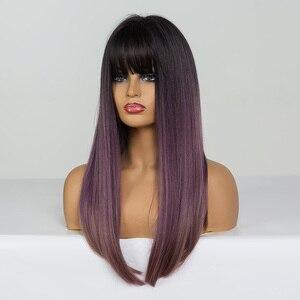 Image 2 - ALAN EATON Bộ Tóc Giả Dài Thẳng với Nổ Đen Tím hoa cà Nâu Ombre Tổng Hợp Tóc Giả Dành cho Người Phụ Nữ Chịu Nhiệt Cosplay bộ tóc giả