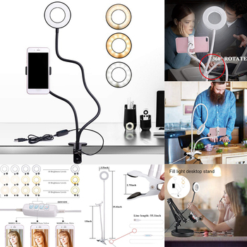 Selfie Flash Ring Light Phone Holder and Mobile stand 24 LED Camera 2 in 1 Flexibl Long Arm USB Clip for Live Stream video