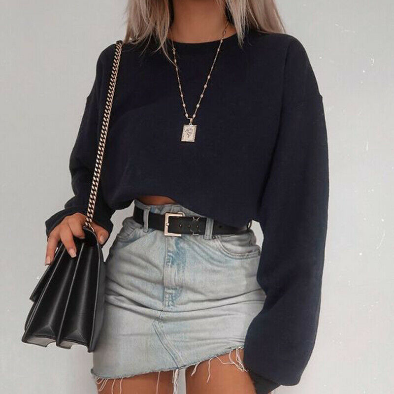 Women Autumn Basic Crop Top Hoodie Long Sleeve Casual Solid Hooded Sweatshirt Pullovers O Neck Dance Jogger Wear Clubwear