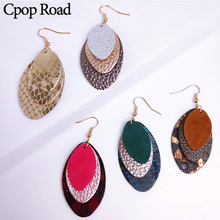 Cpop Leopard Genuine Sheep Cowhide Leather Feather Earrings New Three Layers Statement Earring Fashion Jewelry Women Accessories