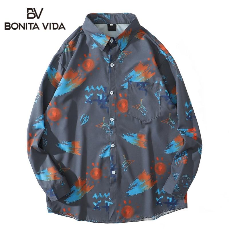 Bonita Vida Graffiti Bird Bear Print Hawaiian Shirts Harajuku Casual Long Sleeve Beach Dress Shirt Streetwear Hip Hop Men Tops