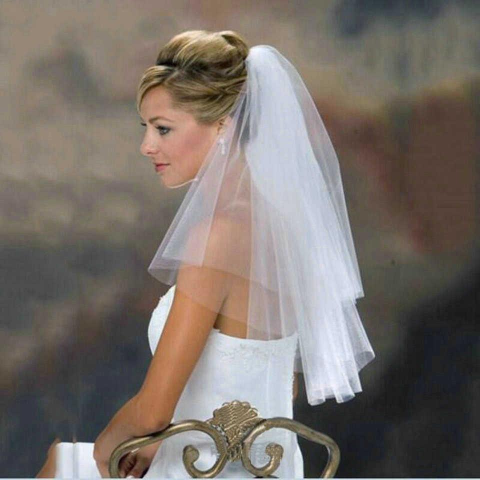 אופנה 2019 חדש הגעה טול ליידי לבן רעלות כלה חתונה אביזרי זול שתי שכבה סקסי נשים שנהב כלה רעלה עם מסרק