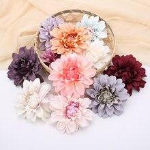 5 unidades/pacote dália artificial flor cabeças 10cm crisântemo falso flores plantas artificiais folhas diy casa decoração de casamento