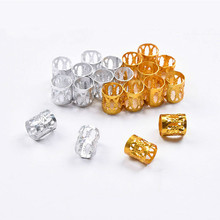 100pcs Adjustable Hair Braids Dreadlock Beads Gold and Silver  Beads Hair Braid Rings Cuff Clips Tubes Jewelry
