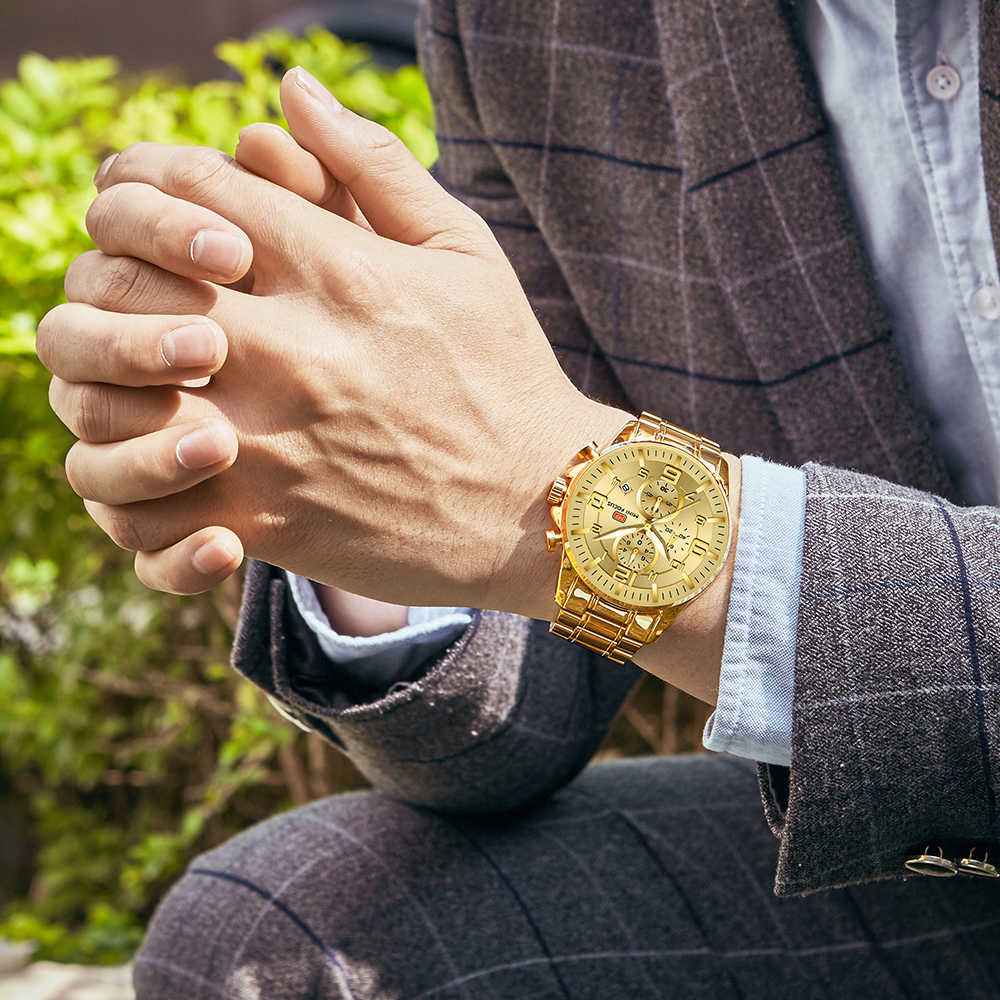 MINI FOCUS or montre hommes 2019 marque de luxe en acier bande chronographe hommes montres étanche Sport montre-bracelet Relogio Masculino