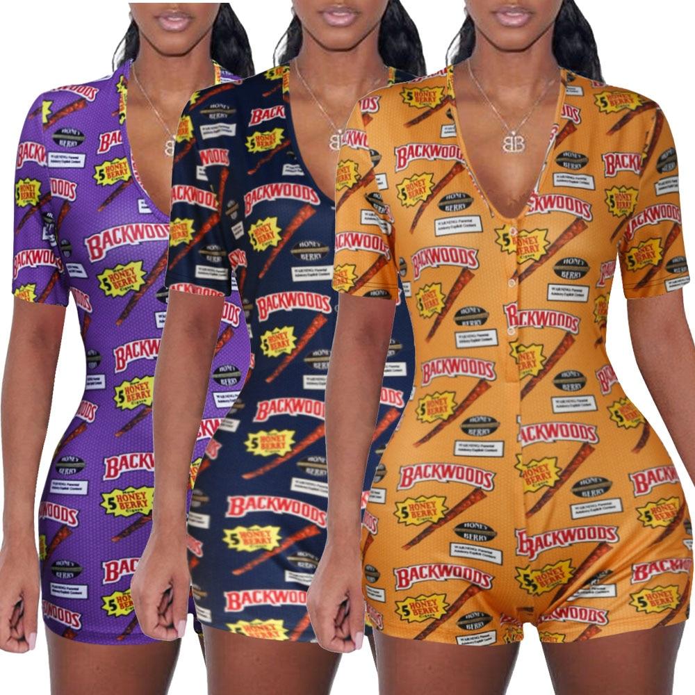 Sexy Women Bodysuit Short Sleeve V Neck Bodycon Stretch Leotard Bodysuit Button Short Romper Pajama Women Sleepwear Jumpsuit