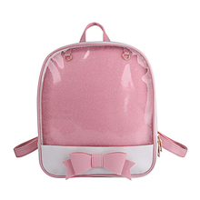 Women Backpack Transparent Cute Bow Bags For School Mini Pink Black Schoolbags