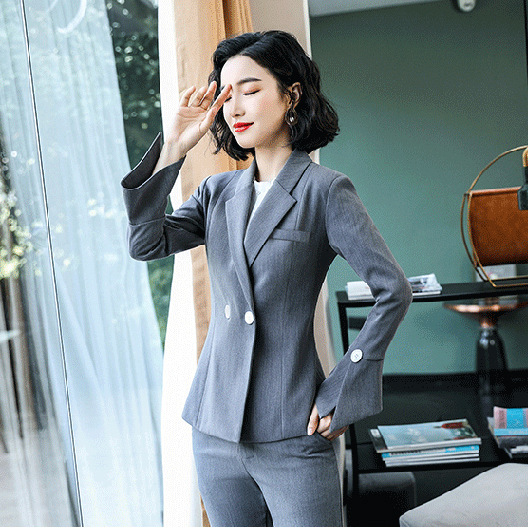 Business Professional Women's Suit Autumn New Slim Double-breasted Long-sleeved Jacket Female Slim-fit Flared Pants Suit 2019