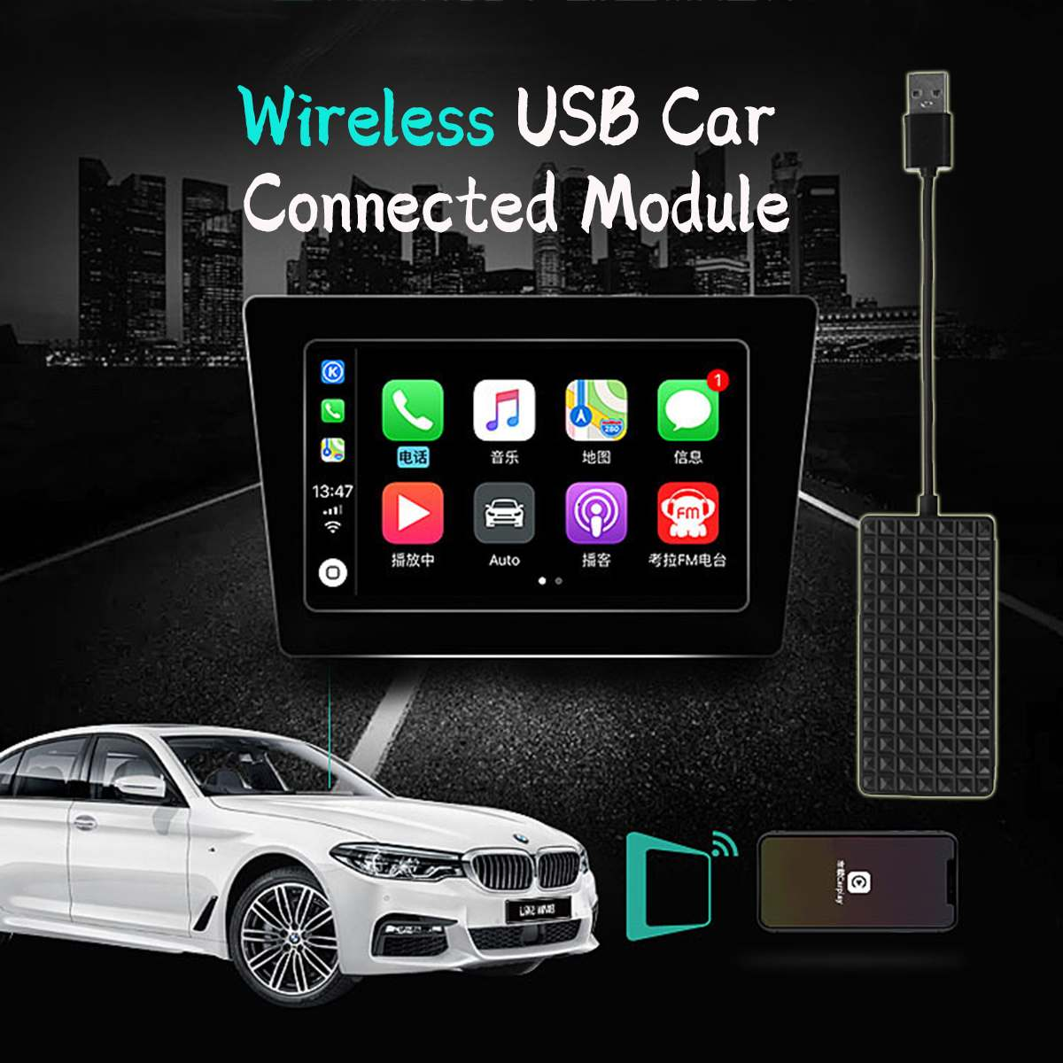 Mini USB Carplay Stick Modules Wireless WiFi USB Dongle Smart Link For Apple CarPlay Dongle For Android Navigation Player