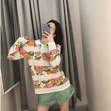 2019 Autumn Sweaters Colorful Fashion Style Knitted Women Pullovers Turn-down Collar Computer Clothes