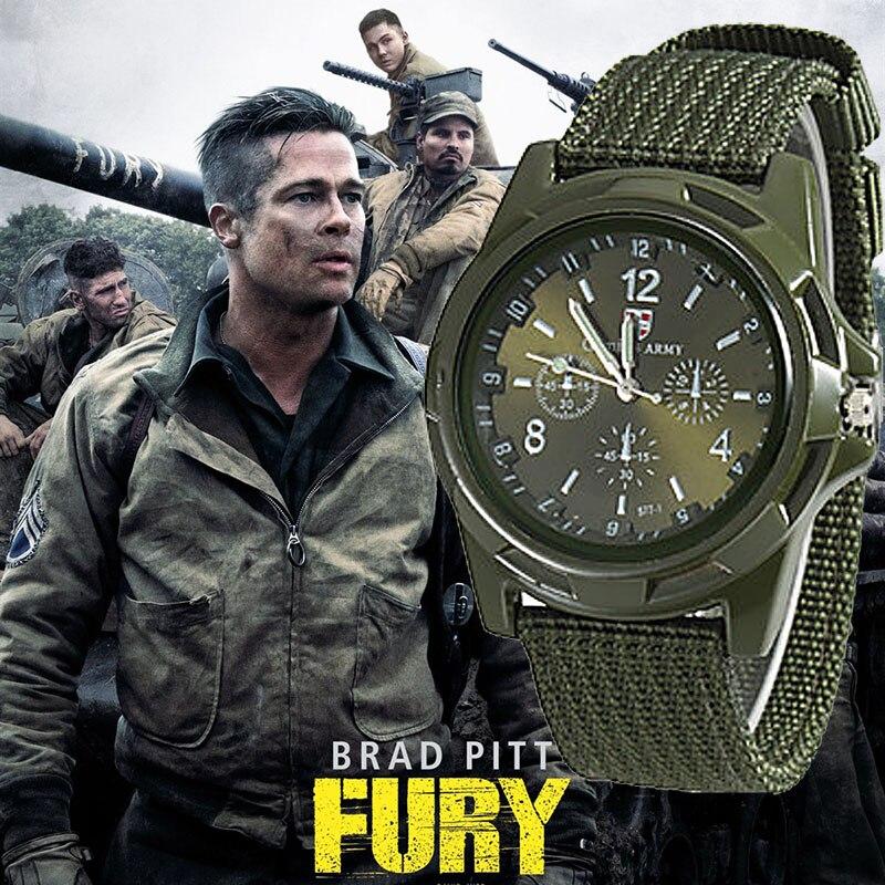 ¡Venta al por mayor! relojes deportivos Gemius para hombre, relojes de cuarzo con banda de nailon verde para hombre