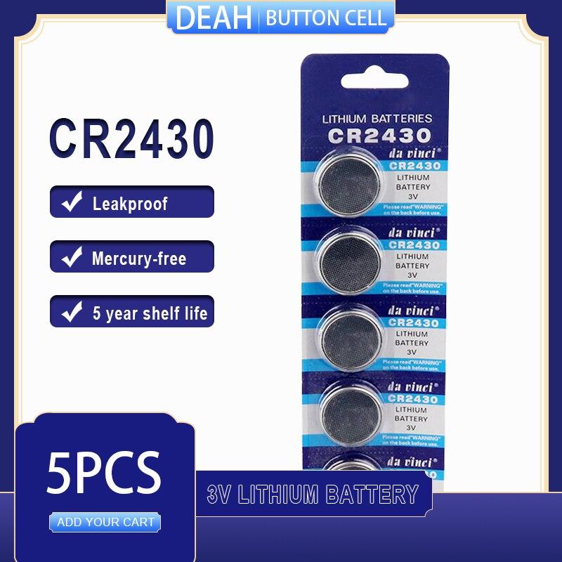 5 шт./лот CR2430 литиевая батарея 3В CR 2430 DL2430 BR2430 ECR2430 для часов компьютера калькулятор управления игрушки кнопки батареи
