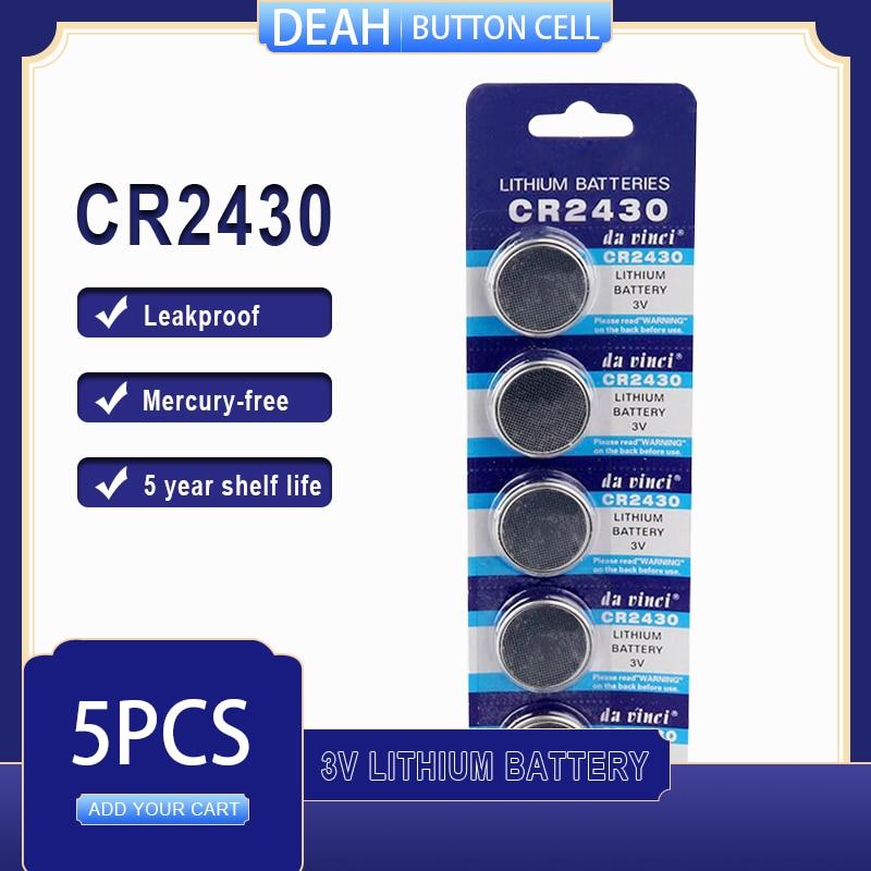 5 PÇS/LOTE CR2430 3V CR Bateria De Lítio 2430 DL2430 BR2430 ECR2430 para Assista Calculadora Computador de Controle Brinquedos Baterias Botão