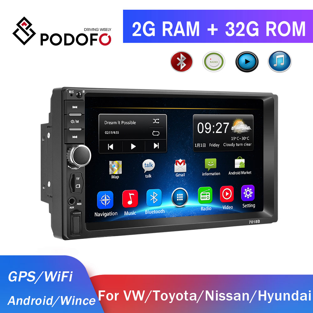 <font><b>Podofo</b></font> 2 din car radio Android Car Multimedia Player GPS 2 Din autoradio for Volkswagen skoda Toyota Nissan hyundai car stereo image