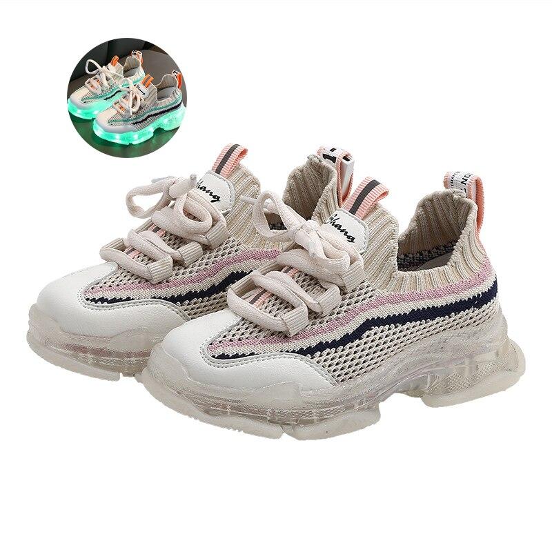 Светодиодный светильник для детей; кроссовки; модная обувь; яркий светильник; дышащая тканая обувь для мальчиков и девочек; спортивная обув