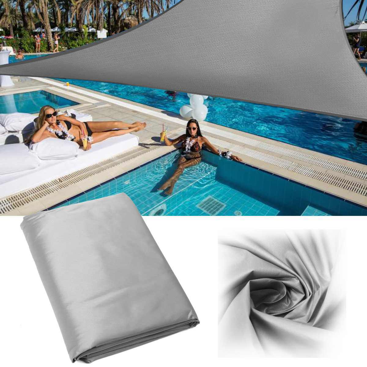 5x5x5M triángulo sombra vela red tela exterior piscina impermeable sol sombra vela prevenir dosel UV hogar jardín toldo cubierta