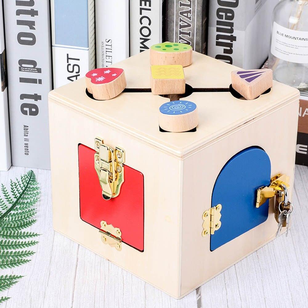 Montessori enseignement multifonction serrure boîte ensemble bébé apprendre à débloquer l'éducation précoce jouets pratique vie compétence jouet