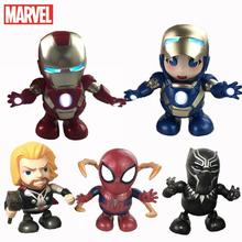 Marvel мстители супергерой электронная Танцующая светильник ка светлый робот игрушка Железный человек Человек-паук пантера кукла для детей м...