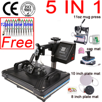 double display 30*38CM 5 in 1 sublimation Printer Combo thermal T shirt Heat Press pen Machine for Plates/Cap/Mug/Phone/pen