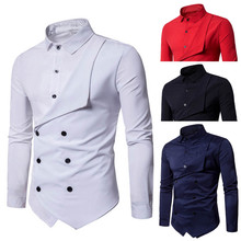 2021 New Fashion Personality Men s Casual Slim Long sleeved Solid Shirt black white red mens shirts casual slim fit long sleeve